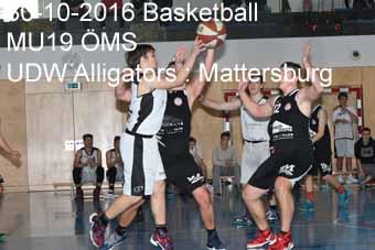 30-10-2016 Basketball - MU19 ÖMS - UDW Alligators : Mattersburg